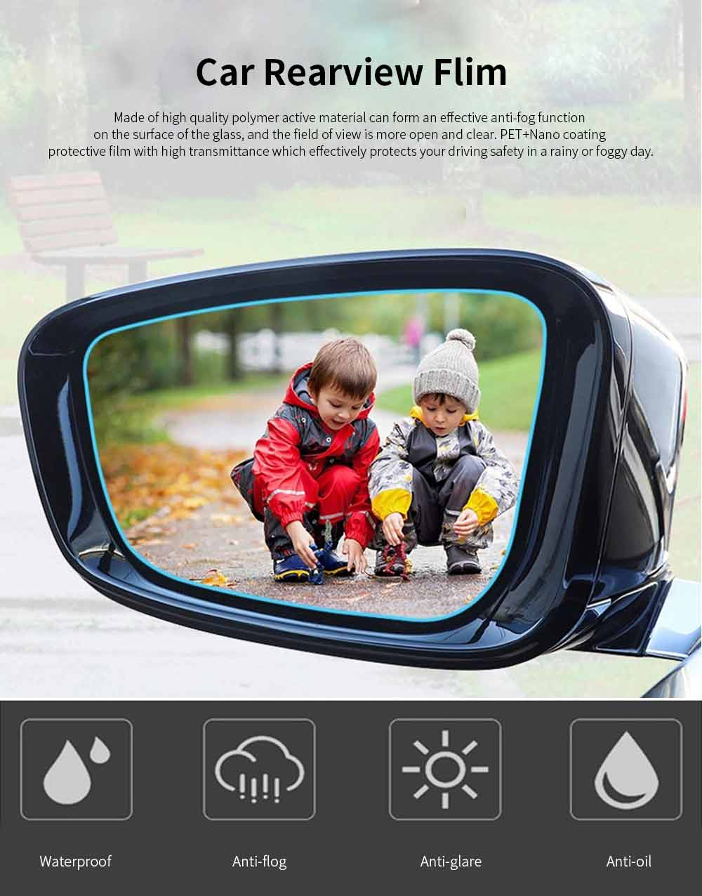 Car Rearview Mirror Glass Film Rainproof Anti-Fog Film Dust-Proof Anti-Glare Anti-Scratch Protective Film 0