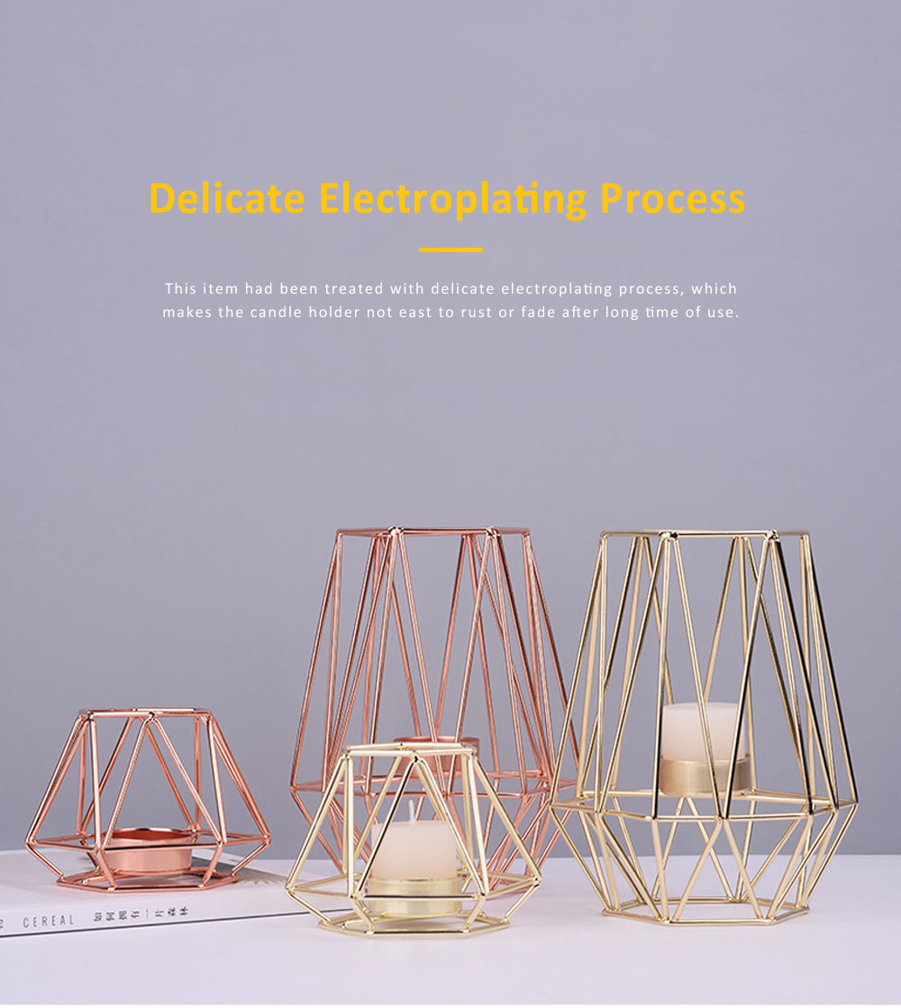 Elegant Golden Hollow Solid Metal Candle Holder, Minimalist Romantic Pink Golden Candler Table Accessories Decoration 4