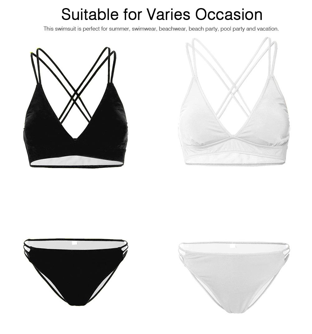 Women's Double Shoulder Straps Bikini, Cozy Ultra-Thin Sexy Triangle Cup Gathered Women's Bikini Set, No Steel Swimming Suit Bikini 6