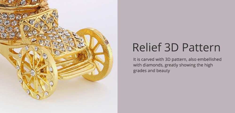 European Style Luxury Jewelry Storage Case, Diamond-mounted Artwork Crown Storage Box with Car-shaped Decoration Ornament  4