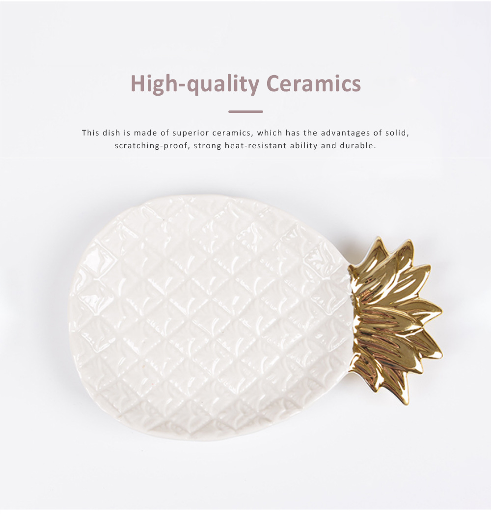 Golden Pineapple Model Ceramics Dish with Creative Shiny Electroplating , Exquisite Jewelry Storage Dessert Fruits Tray 2
