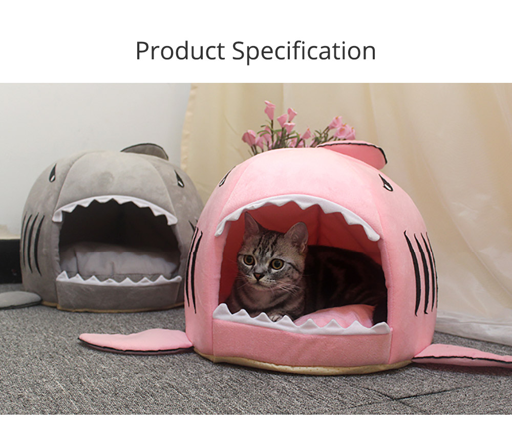 Shark-shaped Cattery Four Seasons Warm  Cat Nest, Winter Cattery Indoor Closed Cat Beds 6