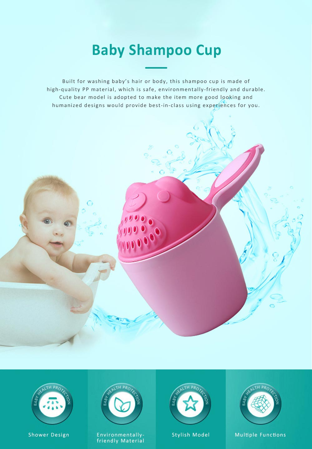 Bear Model Baby Shampoo Rinser Cup, Convenient Portable Hair Wash Bathing Flusher for Infants Shampoo Cup 0