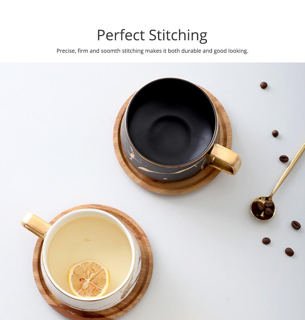 Gold Marbling Ceramic Cup Household Use Coffee Mug with Cover Saucer, Matt Golden Marbling Mug Breakfast Drinkware 4
