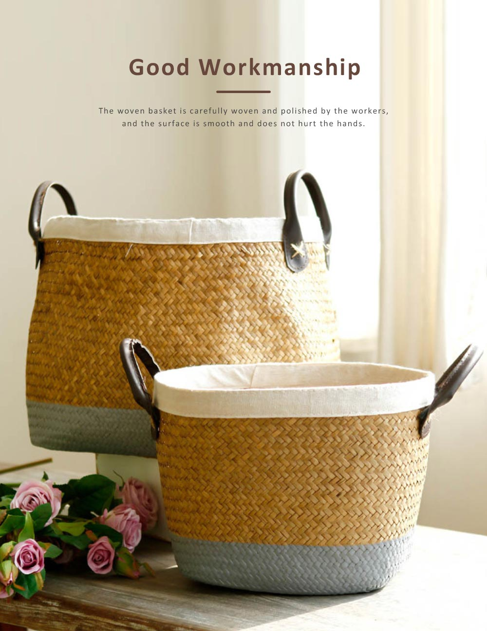 Handmade Woven Basket Large Capacity Home Toys Storage Bag Shopping Bag Fashion Home Flower Basket Decor with Leather Handle 2