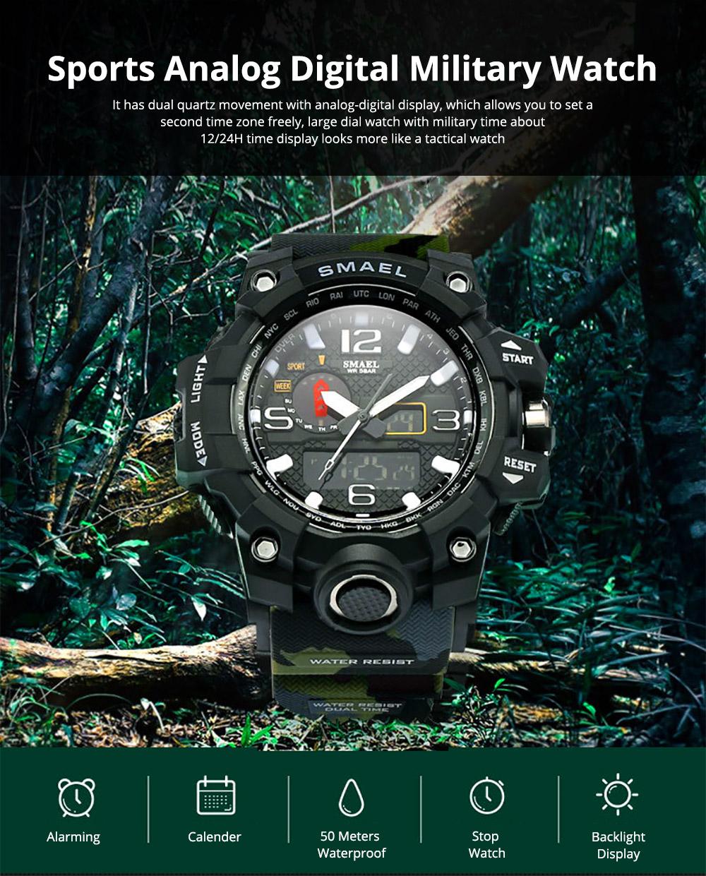 Men's Sports Analog Digital Watch, Waterproof Multifunctional Large Dial Wrist Watch for Men 0