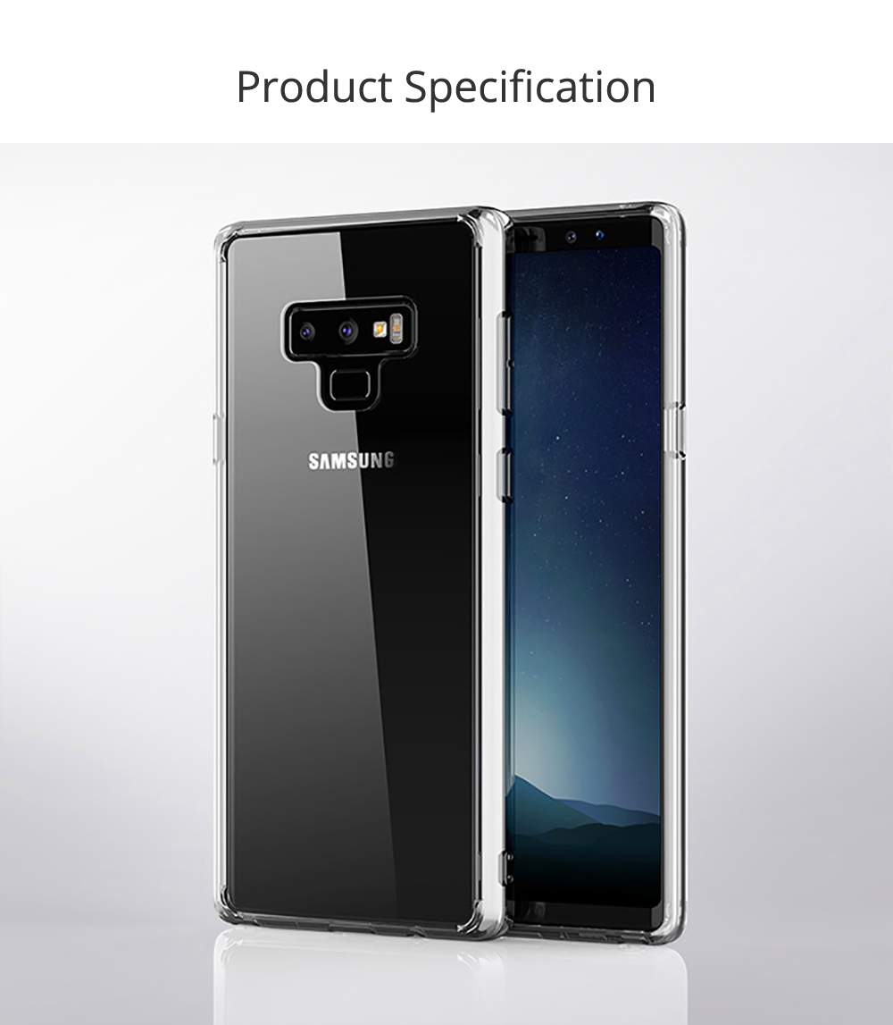 Ultra Soft Waterproof TPU Phone Case Cover with Transparent Frame Compatible with Samsung Note 9 6