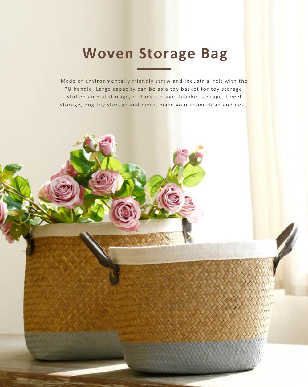 Handmade Woven Basket Large Capacity Home Toys Storage Bag Shopping Bag Fashion Home Flower Basket Decor with Leather Handle 0