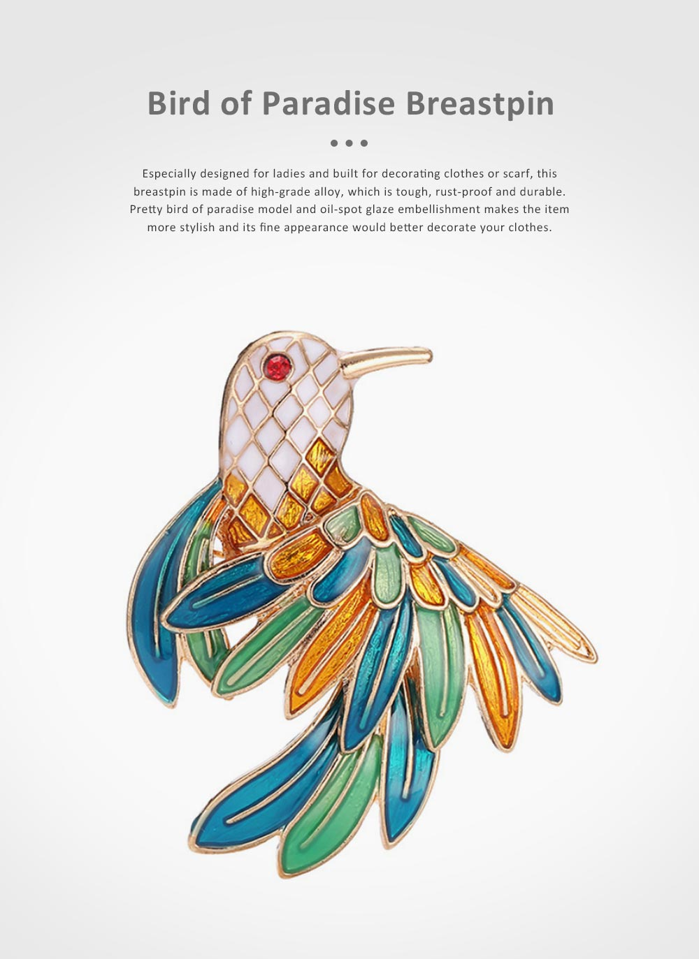 Delicate Fancy Bird of Paradise Model Breastpin for Ladies, Colorful Oil-spot Glaze Brooch Clothes Ornament Decoration 0