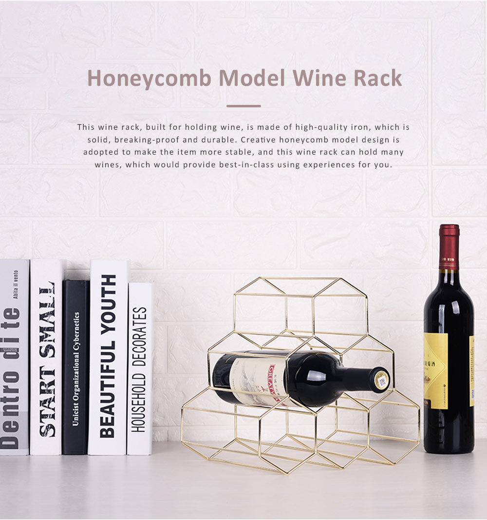 Creative Stable Honeycomb Model Solid Iron Wine Rack, Minimalist Hollow Golden Wine Display Stand Ornament Decoration 0