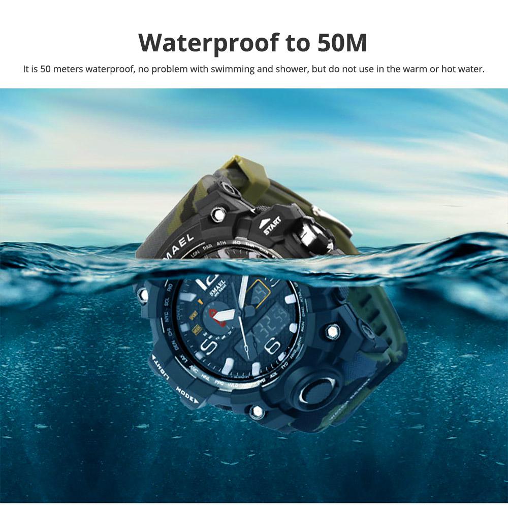 Men's Sports Analog Digital Watch, Waterproof Multifunctional Large Dial Wrist Watch for Men 2