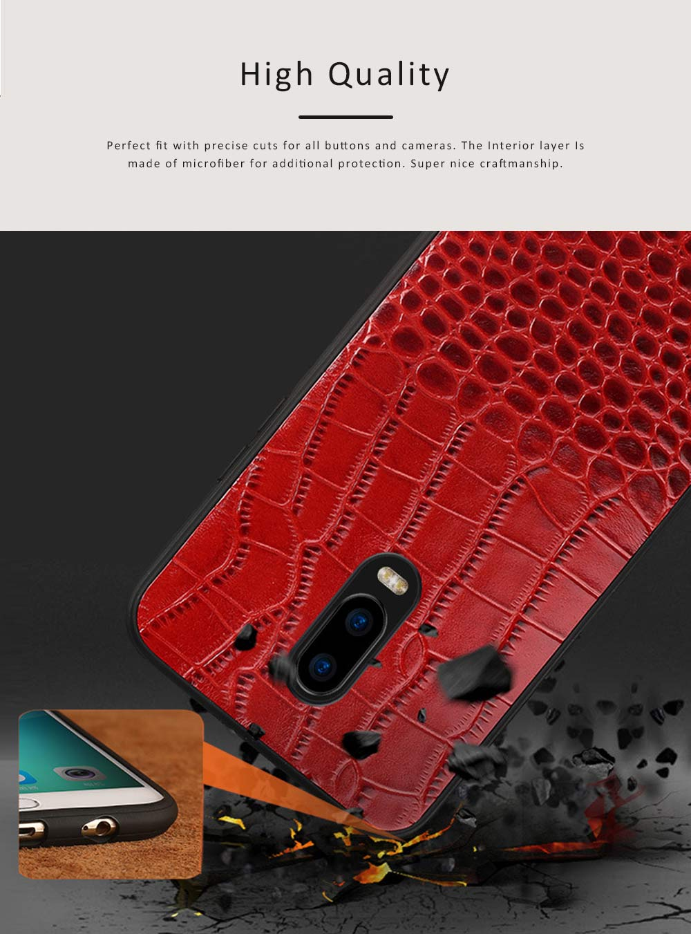 Phone Case Retro Genuine Leather 3D Alligator Skin Texture Case Fashion Phone Accessories for OPPOR Series 4