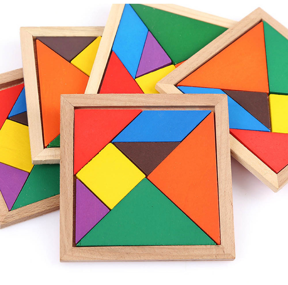 Geometric Shapes Puzzles with Wood Material, Colorful Environmental Paint Construction Toys for Children Over 3 Year-old Shock-Resistant Seven-piece Puzzle 2