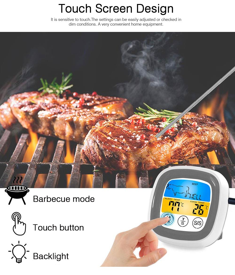 Outdoor Barbecue Thermometer Timer, Kitchen Food Digital Display Touch Thermometer, Cooking Thermometer with Food Grade Stainless Steel Probe 1
