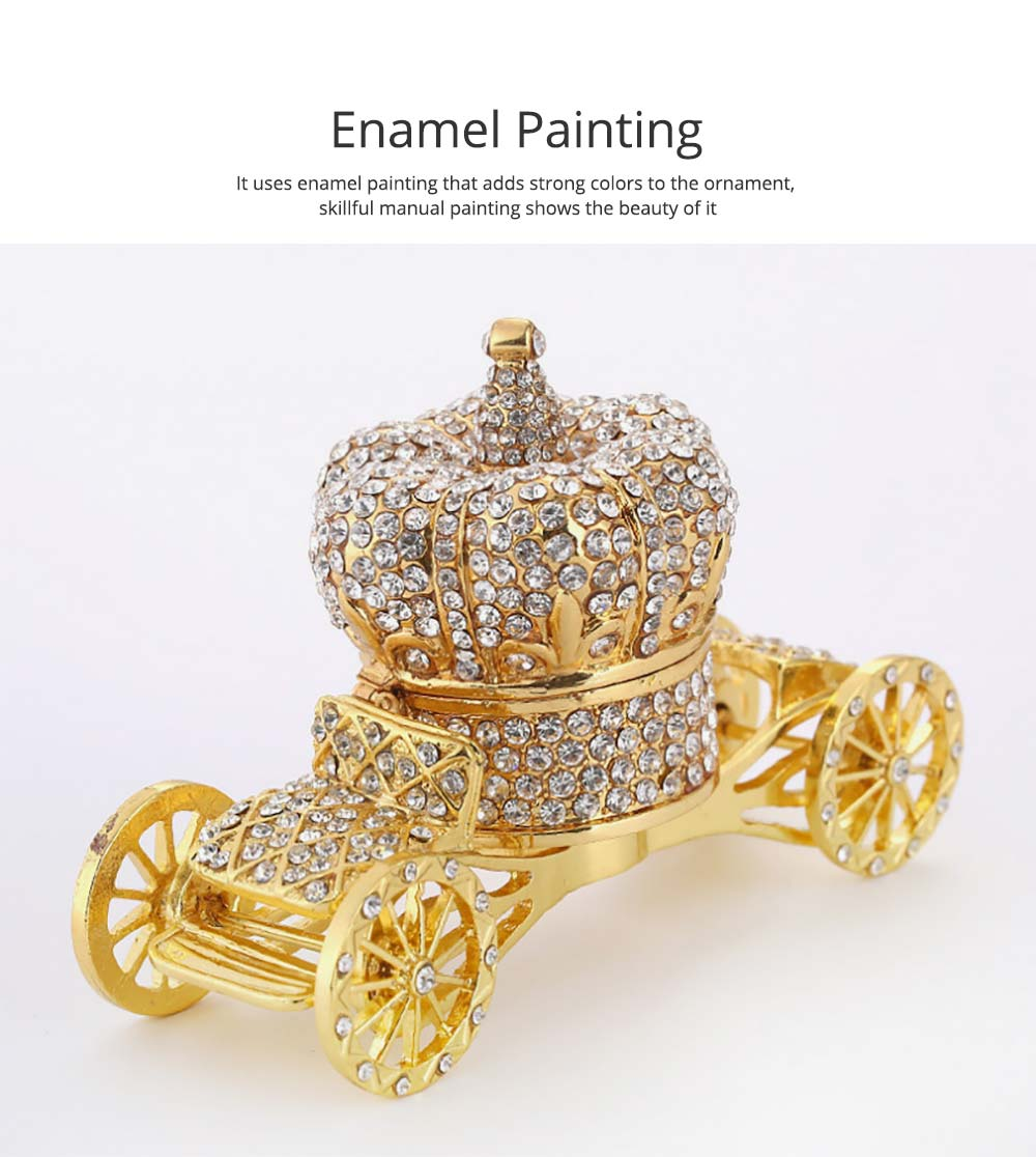 European Style Luxury Jewelry Storage Case, Diamond-mounted Artwork Crown Storage Box with Car-shaped Decoration Ornament  1