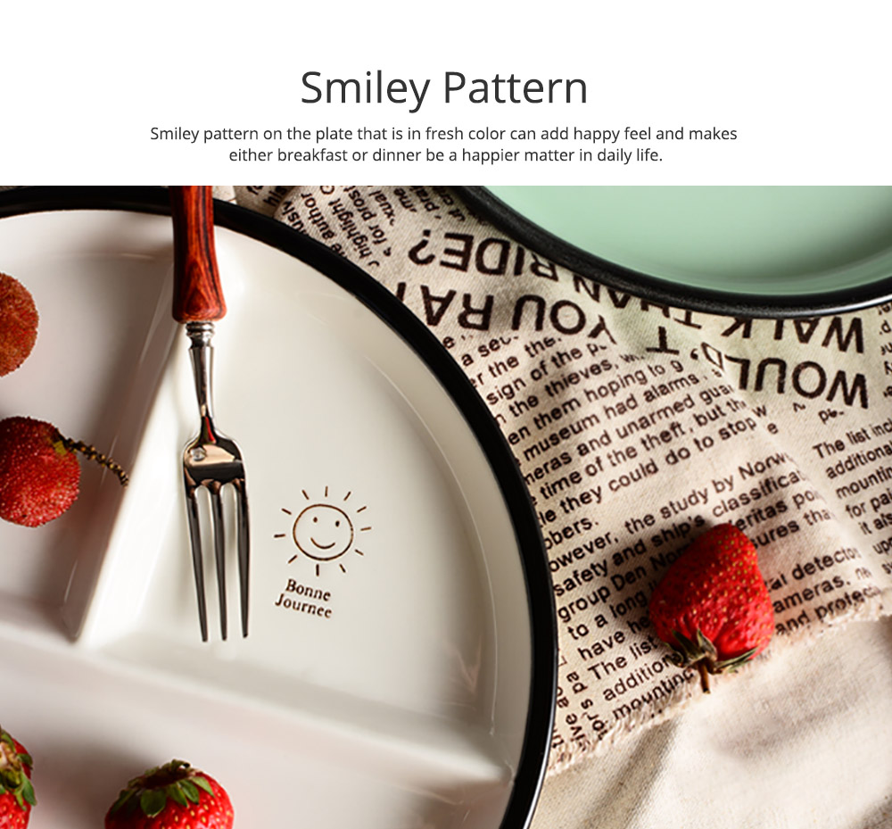 Ceramic Breakfast Dish for Household Use Smiley Plate Creative Snack Dish Salad Plate  Separation Plate Smiling Face Separating Plate Tableware 3