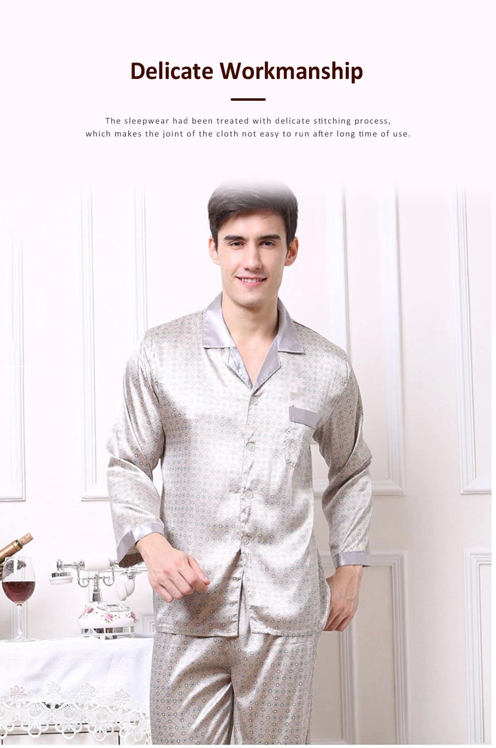 Stylish Spring Summer Silk Long Sleeve Sleepwear Set for Men, Luxury Elegant Decorative Pattern Satin Long Pajamas Suit 2