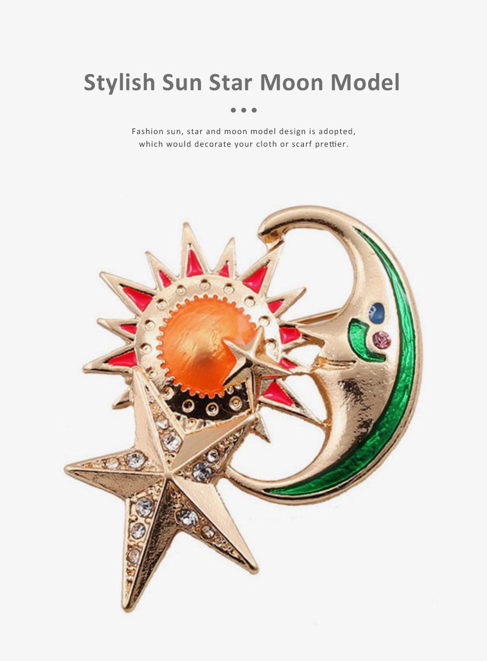Sun Star Moon Breastpin, Fancy Delicate Shiny Alloy Brooch Scarf Ornament Oil-spot Glaze Rhinestone Decoration Brooch 4