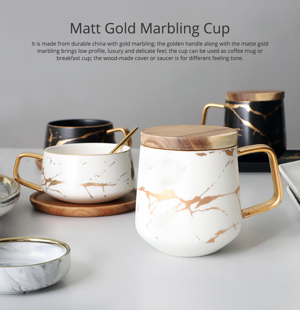 Gold Marbling Ceramic Cup Household Use Coffee Mug with Cover Saucer, Matt Golden Marbling Mug Breakfast Drinkware 0