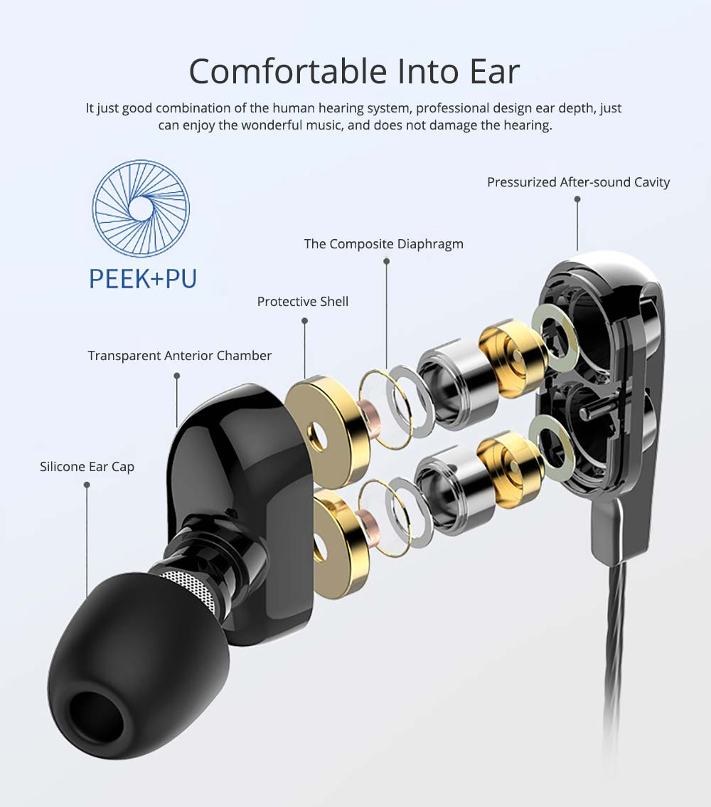 Earplug Running Headphones, Ear Neck Type with Four Core Sound Quality, Four Speakers Sound at The Same Time, Independent Audio 2