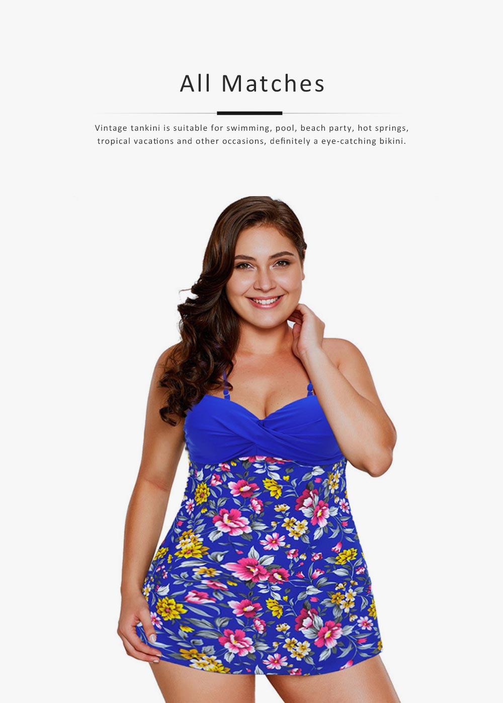 Women Floral Tankini Tummy Control Swimwear Tank Top Retro Printed Swimsuit with Boyshorts Two Piece Bathing Suit 5