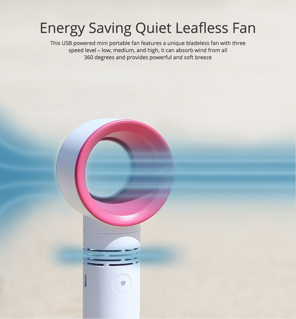 Energy-saving Quiet Leafless Fan with Rechargeable USB, Portable Handheld Fan for Indoor Outdoor Travel Use 0