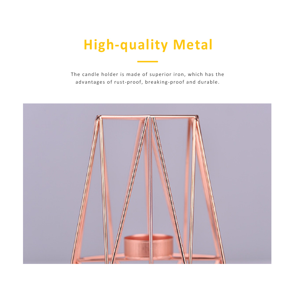 Elegant Golden Hollow Solid Metal Candle Holder, Minimalist Romantic Pink Golden Candler Table Accessories Decoration 1
