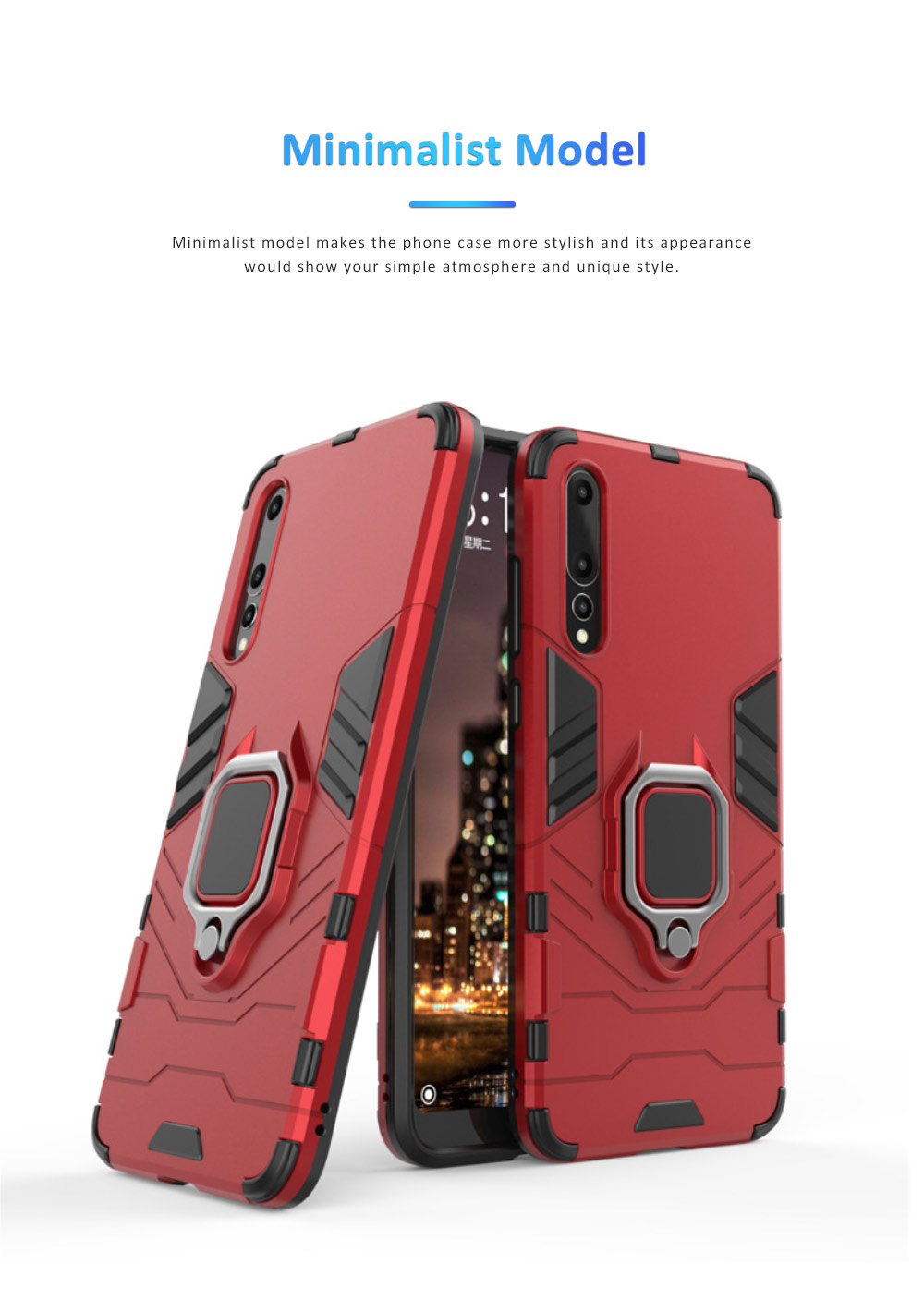 Soft PC TPU Huawei Phone Case with Vehicle Magnetic Attraction, Minimalist Luxury Breaking-proof Phone Cover with Ring Holder 5