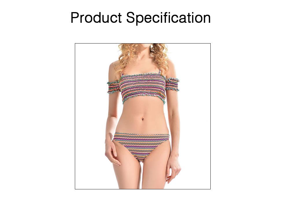 Off Shoulder with Straps Bikini for Girls, Tube Top Split Bikini, Women Sexy Swimwear 2 PCS, Women Colored Lines Popular Off Shoulder Beach Suit 6