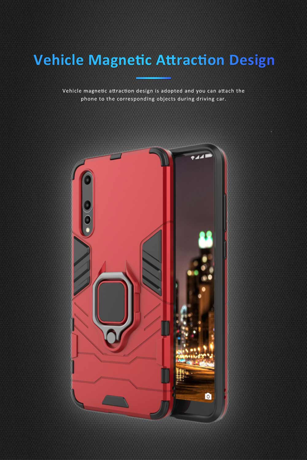 Soft PC TPU Huawei Phone Case with Vehicle Magnetic Attraction, Minimalist Luxury Breaking-proof Phone Cover with Ring Holder 4