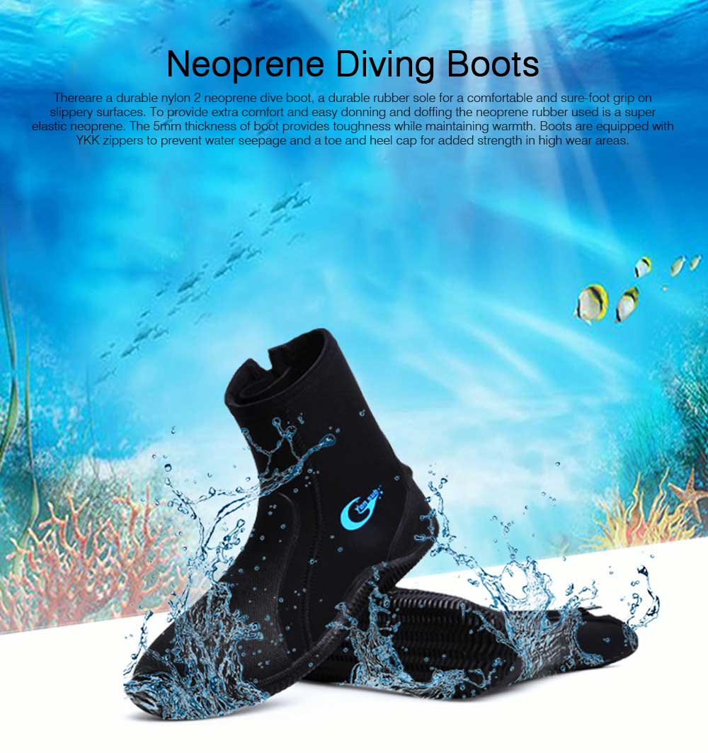 Anti- Slip Wear Diving Boots Snorkeling Surfing Shoes for Men Women, Neoprene Diving Boots, High-Top Vulcanized Diving Boots 5 MM Thickness  0