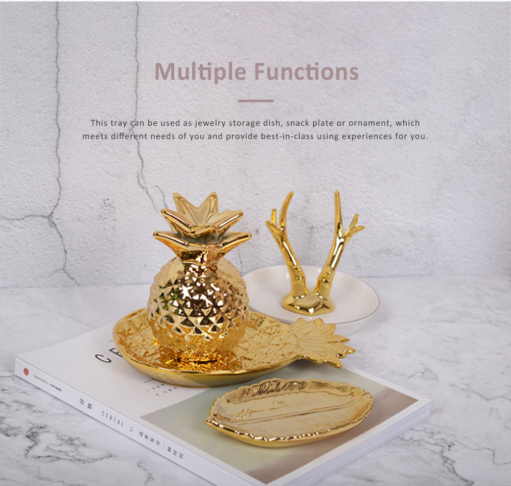 Golden Pineapple Model Ceramics Dish with Creative Shiny Electroplating , Exquisite Jewelry Storage Dessert Fruits Tray 4
