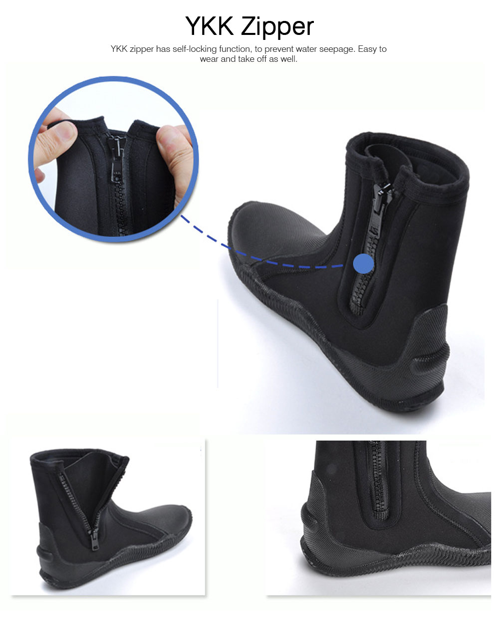 Anti- Slip Wear Diving Boots Snorkeling Surfing Shoes for Men Women, Neoprene Diving Boots, High-Top Vulcanized Diving Boots 5 MM Thickness  2