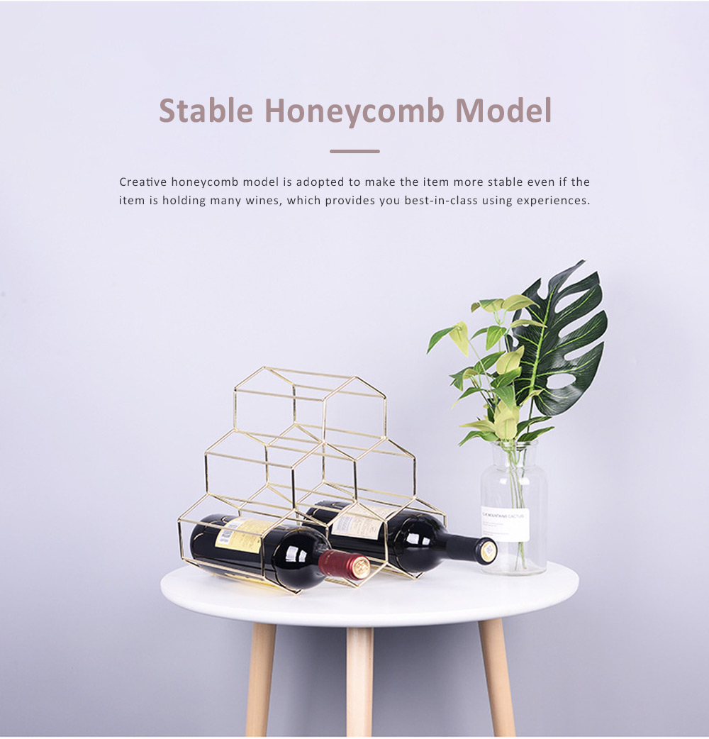 Creative Stable Honeycomb Model Solid Iron Wine Rack, Minimalist Hollow Golden Wine Display Stand Ornament Decoration 2