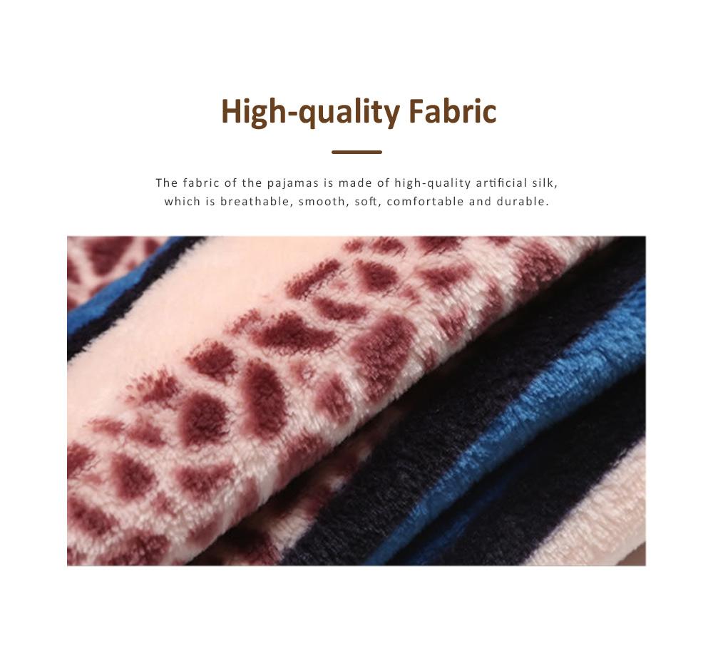Warm Flannel Long Sleeve Men Pajamas Suit, Autumn Winter Luxury Ultra-soft Coral Fleece Lapel Sleepwear Set for Men 1
