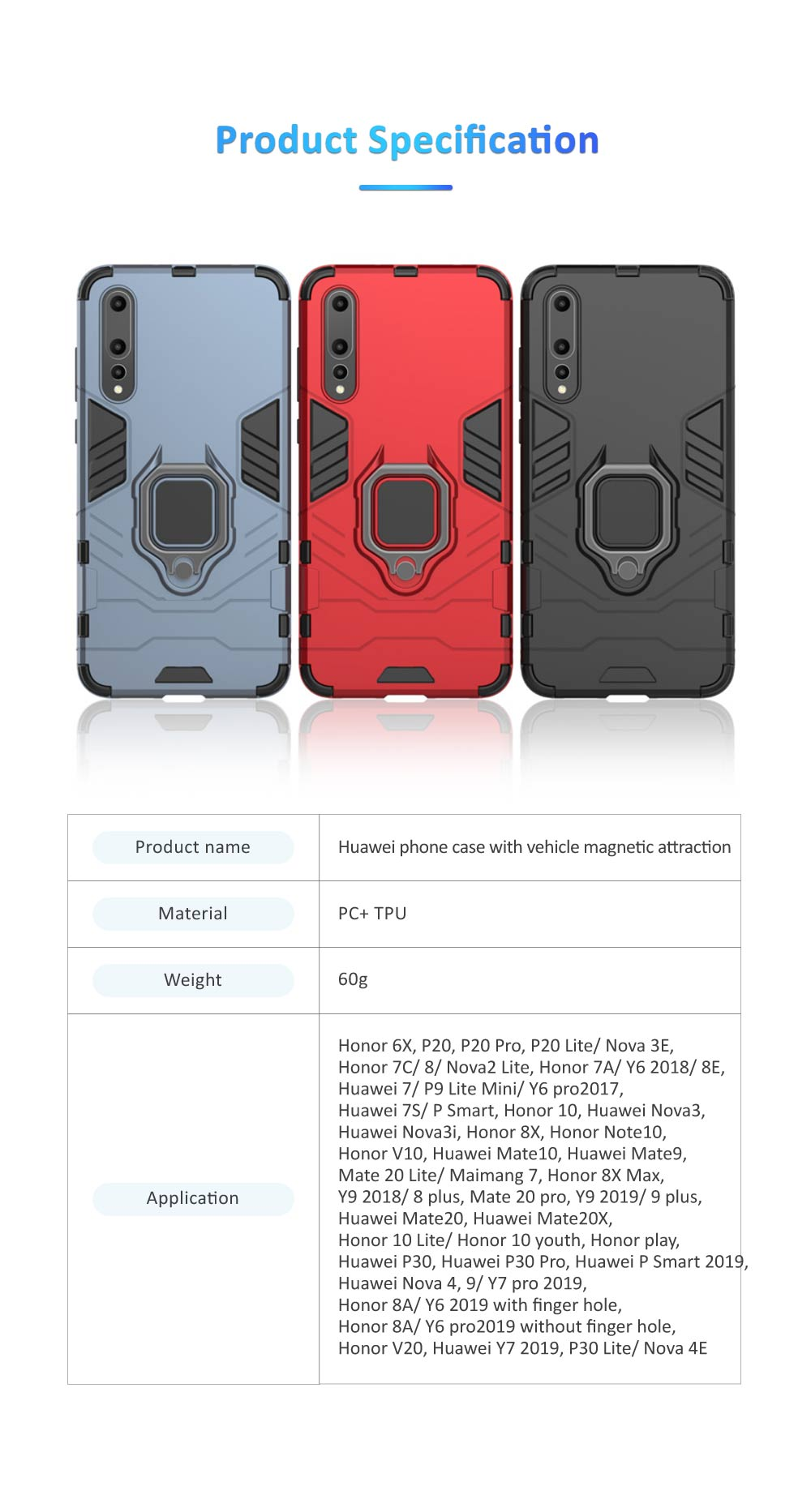 Soft PC TPU Huawei Phone Case with Vehicle Magnetic Attraction, Minimalist Luxury Breaking-proof Phone Cover with Ring Holder 6