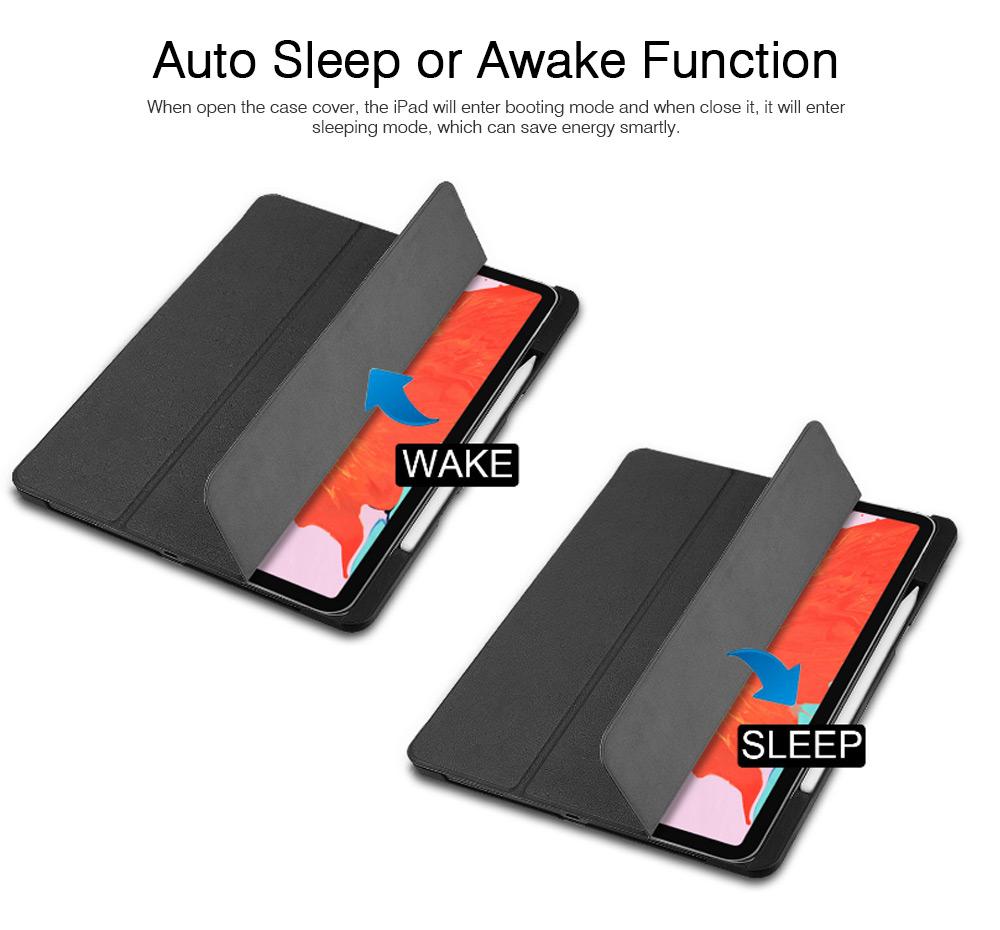 iPad Pro 12.9 inch 2018 Magnetic Leather Auto Sleep Awake Smart Case, Intelligent Sleep Protection Cover for 2018 iPad Pro 12.9'' 1