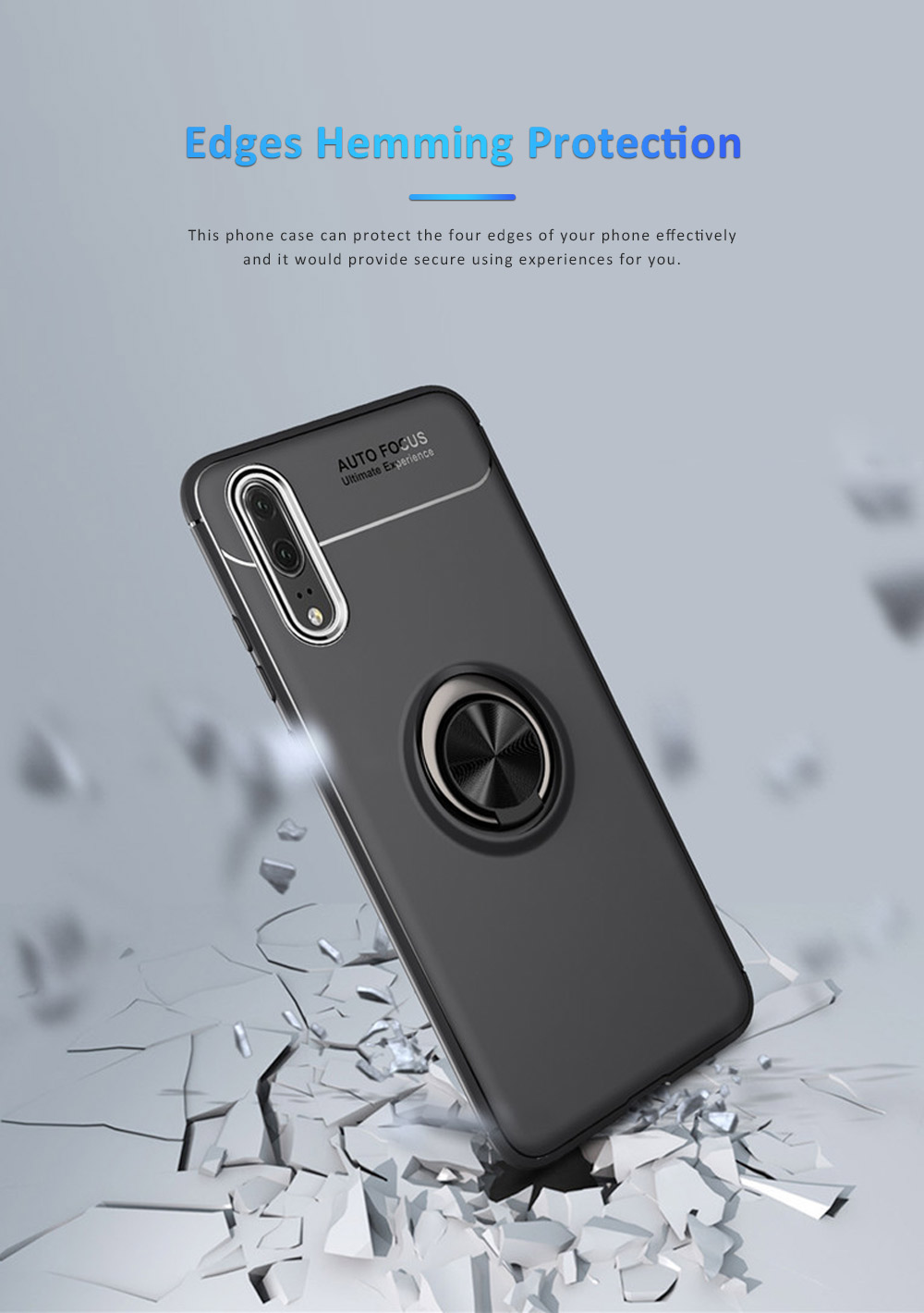 Ultra-soft Smooth TPU Huawei Phone Cover with Vehicle Magnetic Attraction, Simple Phone Case for Huawei Honor with Invisible Alloy Ring Holder 2