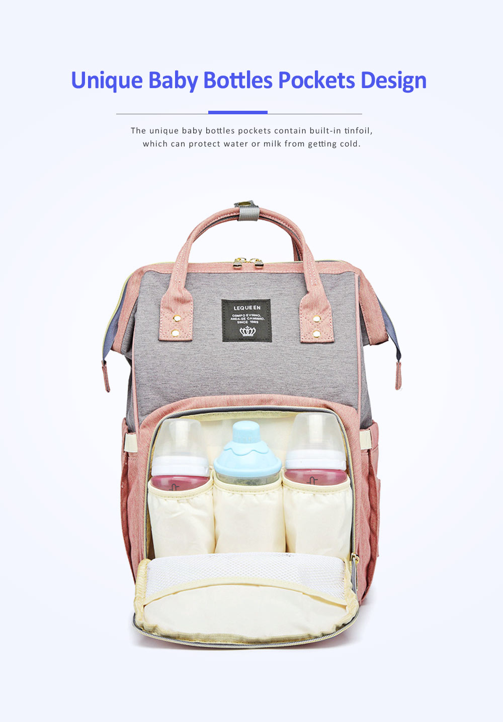 Multifunctional Canvas Baby Diaper Bag, Delicate Luxury Mummy Maternity Nappy Travel Messenger Backpack 8