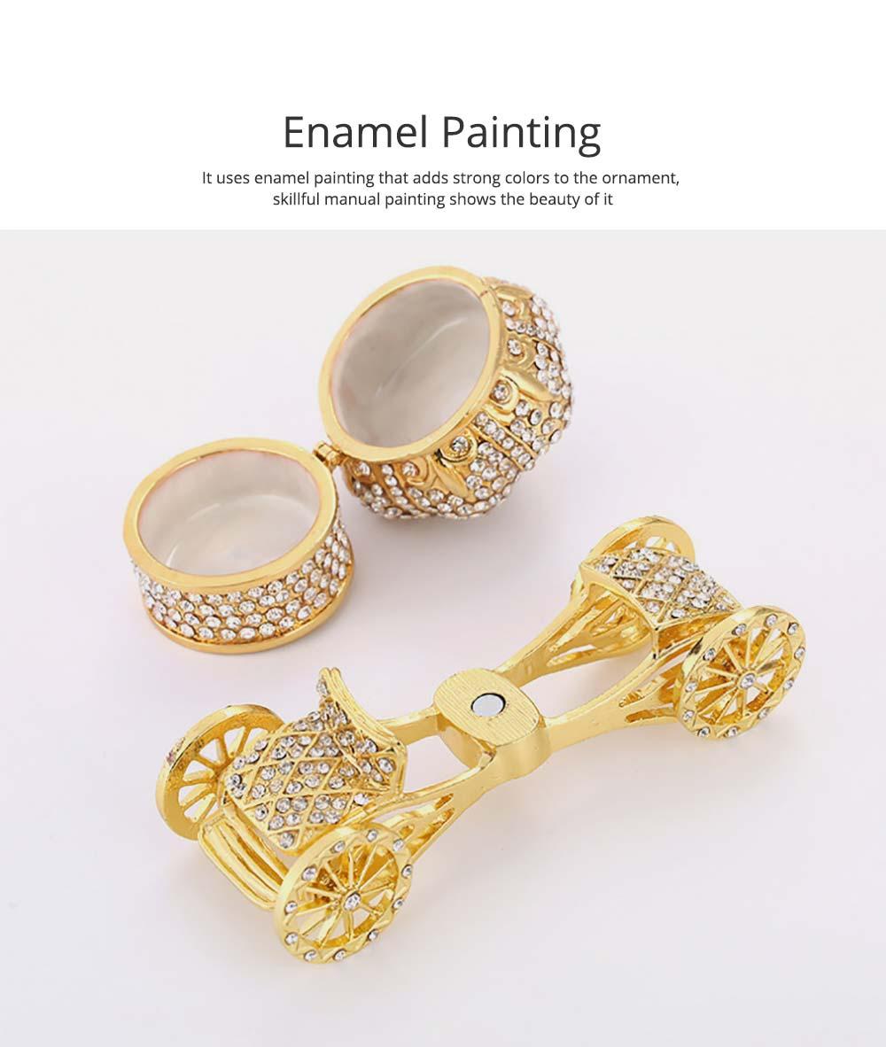 European Style Luxury Jewelry Storage Case, Diamond-mounted Artwork Crown Storage Box with Car-shaped Decoration Ornament  5