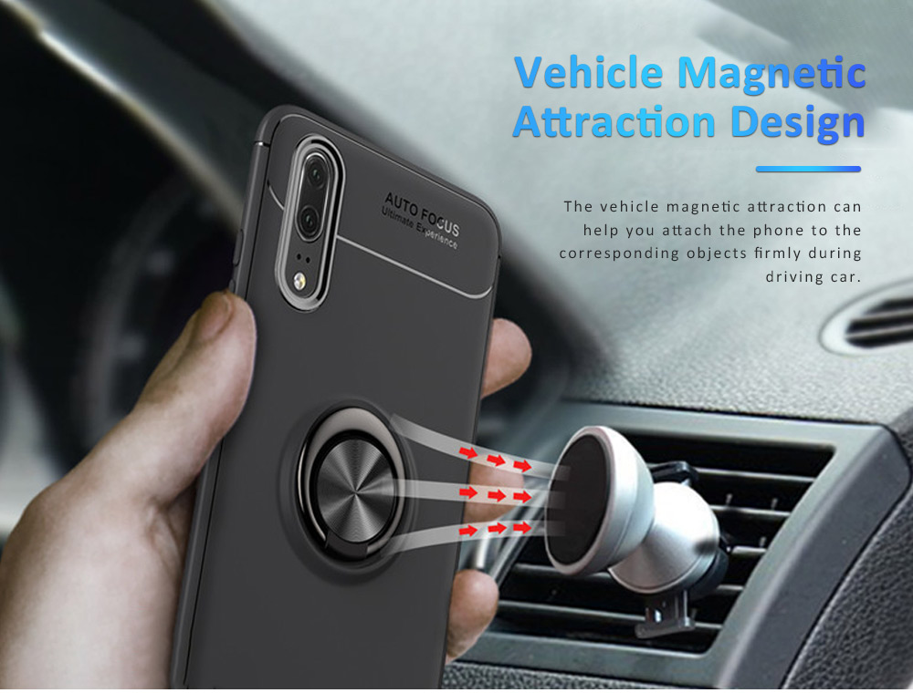 Ultra-soft Smooth TPU Huawei Phone Cover with Vehicle Magnetic Attraction, Simple Phone Case for Huawei Honor with Invisible Alloy Ring Holder 5