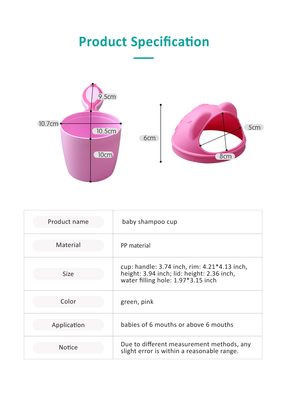 Bear Model Baby Shampoo Rinser Cup, Convenient Portable Hair Wash Bathing Flusher for Infants Shampoo Cup 7