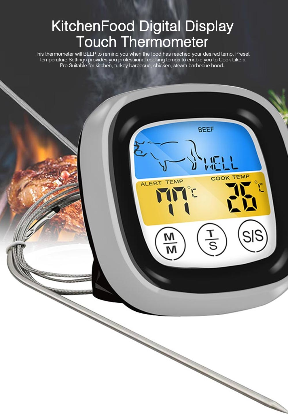 Outdoor Barbecue Thermometer Timer, Kitchen Food Digital Display Touch Thermometer, Cooking Thermometer with Food Grade Stainless Steel Probe 0