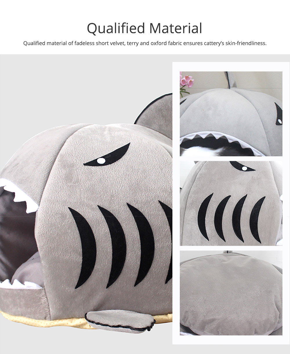 Shark-shaped Cattery Four Seasons Warm  Cat Nest, Winter Cattery Indoor Closed Cat Beds 2