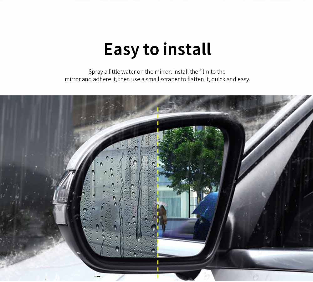 Car Rearview Mirror Glass Film Rainproof Anti-Fog Film Dust-Proof Anti-Glare Anti-Scratch Protective Film 5