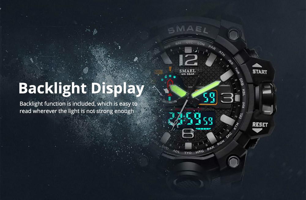 Men's Sports Analog Digital Watch, Waterproof Multifunctional Large Dial Wrist Watch for Men 4