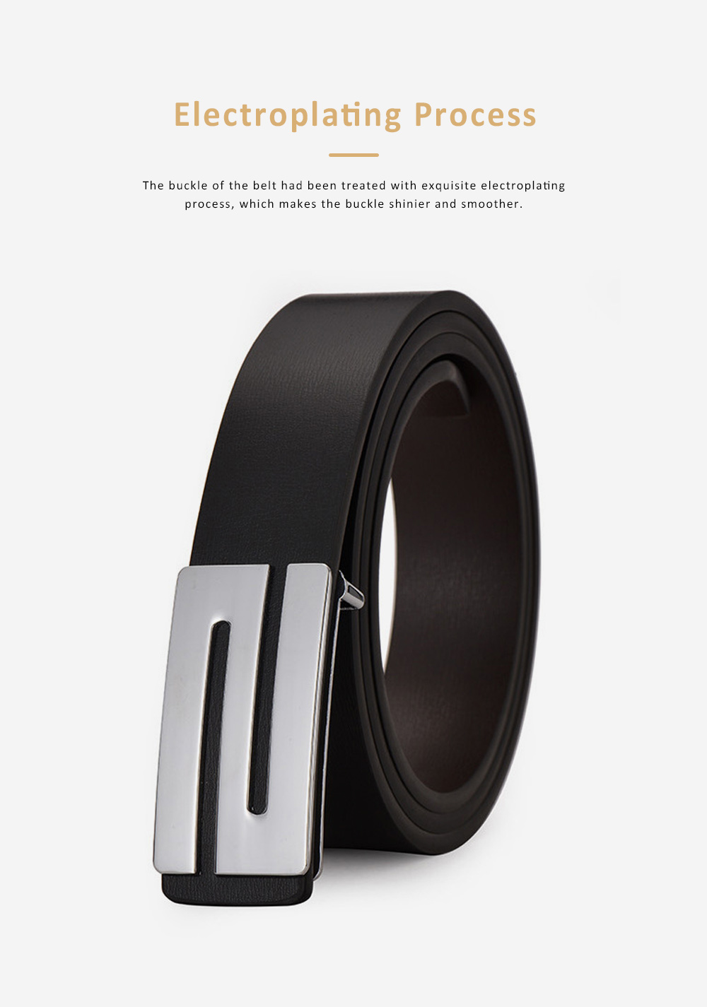 Minimalist Ultra-soft Smooth PU Men Alloy Slide Buckle Belt, Casual Youth Waist Band for Men Students 4