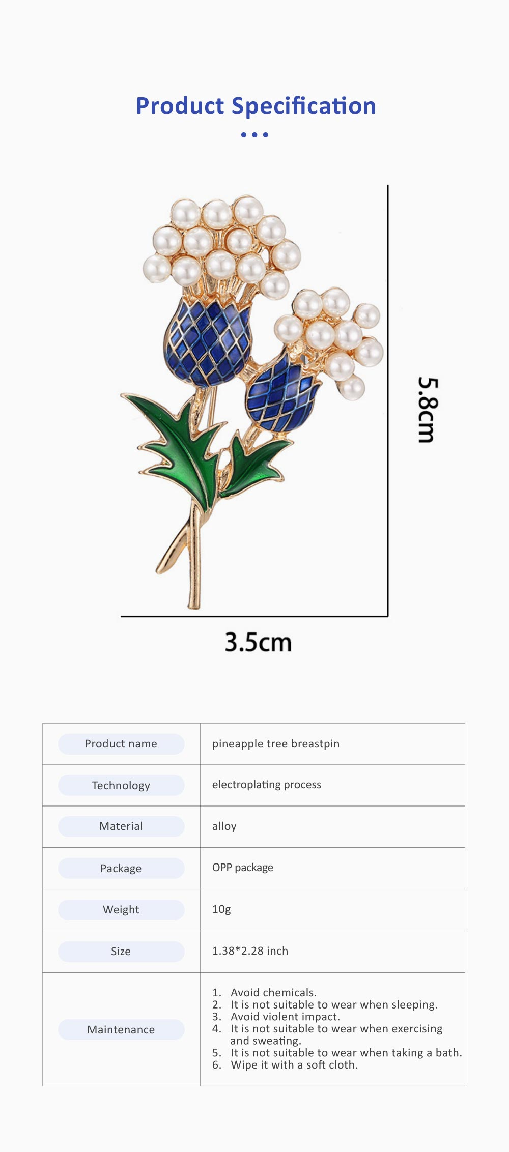 Elegant Brooch Oil-spot Glaze Pearl Decoration Pineapple Tree Breastpin, Delicate Fine Shiny Durable Alloy Brooch Clothes Scarf Ornament 6