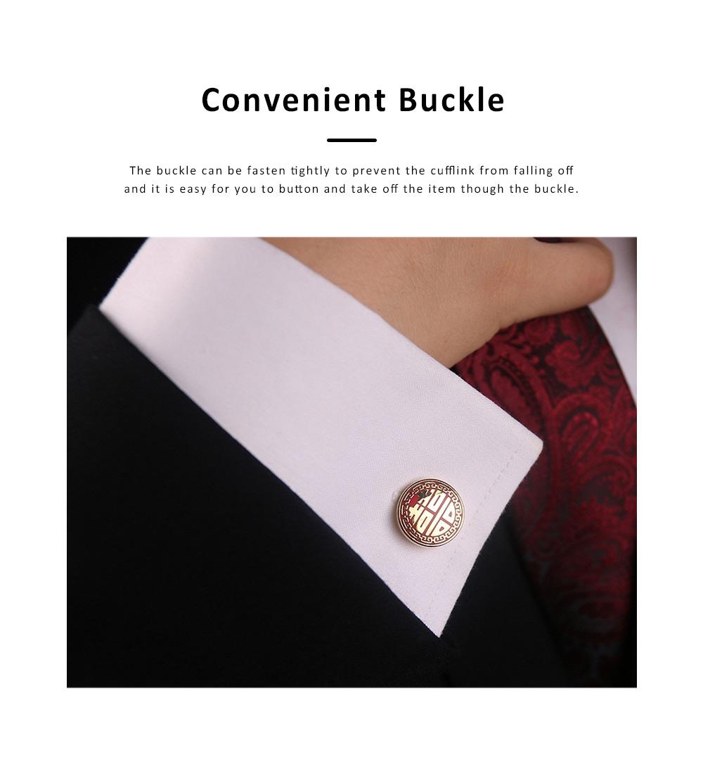 Minimalist Fashion Delicate Pattern Copper Men Shirt Cufflink, Unique Business Wedding Groom Suit Shirt Sleeve Button 3