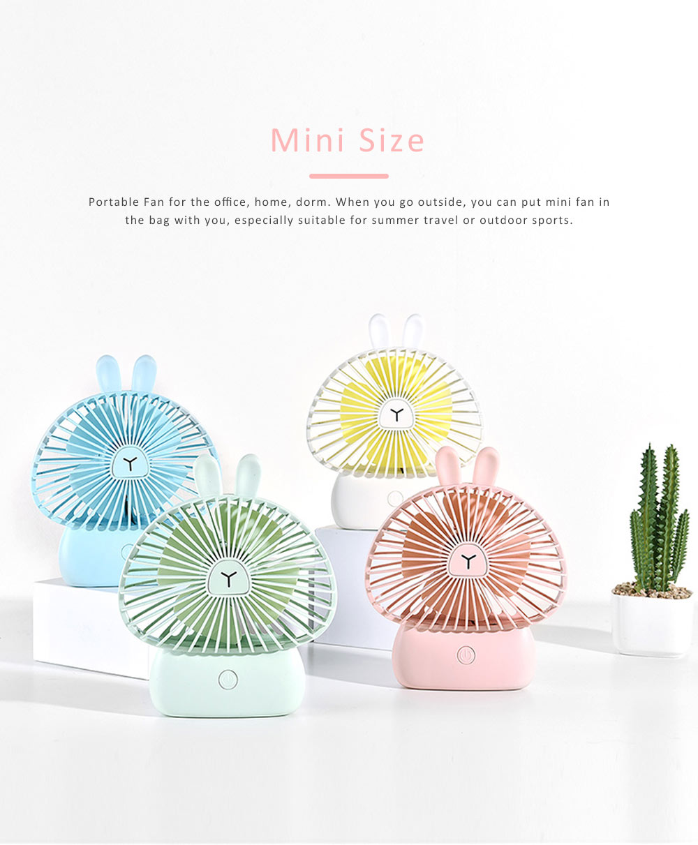 Portable Desk USB Fan Mini Stroller Table Fan with USB Rechargeable Battery Small Size 4 Speeds for Home Office and Dorm-White 4